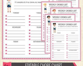 Editable PDF Chore Chart for Girl, Pink Weekly Chore List // Kid Chore Chart // Girl Chore Chart - Organizer105