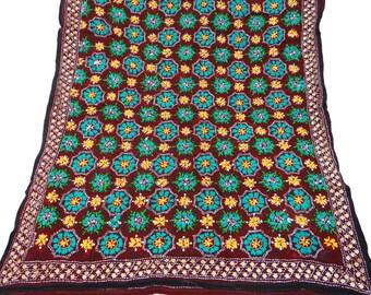 Vintage Dupatta Phulkari Embroidered Wrap Indian Long Stole Floral Art Craft Fabric Antique Deco Brown Vintage Clothing Hijab DPP18