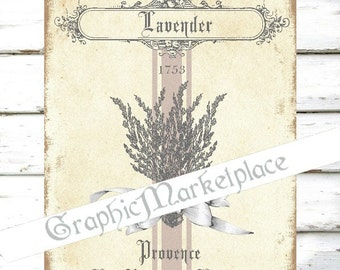 Lavender Lavande Provence French Transfer Pillows Towels Linen Fabric digital collage sheet graphic printable No. 1627