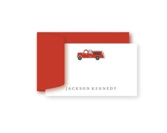 Personalized Birthday Gift Enclosure Cards, Set of 10, Fire Truck