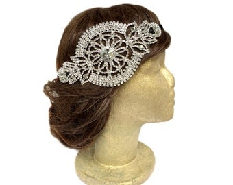 Silver Rhinestone Hair Piece, Bridal Rhinestone Hair Bandeau, Crystal Headwrap, Bridal Fascinator, Vintage Style Headpiece Jewelry