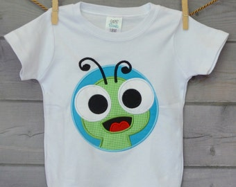 Personalized  Big Eyed Bug Snail Bug Firefly GrassHopper Patch Worm Applique Shirt or Onesie Boy or Gir