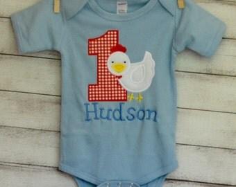 Personalized Birthday Chicken Applique Shirt or Onesie Girl or Boy
