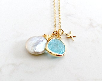Aquamarine Necklace With Pearl 14k Gold Filled Starfish Necklace Aquamarine Jewelry March June Birthstone Necklace Personalized Jewelry
