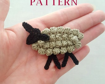 Crochet sheep pattern, crochet lamb pattern, sheep charm pattern, lamb crochet applique DIY, farm theme instant download pdf pattern