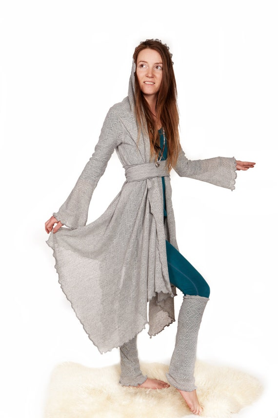 Hooded Cloak Long Cardigan Yoga Clothing Gray Cardigan