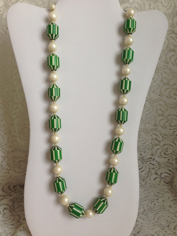 1960's Vintage Green and White Striped Lucite Plastic Beads Necklace 27 Inch