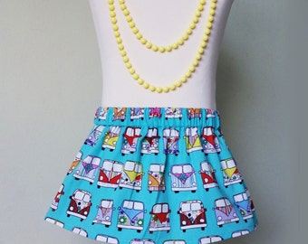 Girls skirt, campervan skirt, rainbow, girls clothing, uk