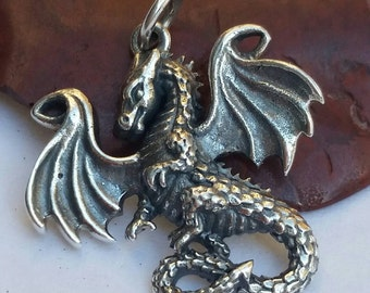 Sterling Silver Dragon Charm,Fire Breathing Dragon Charm,Dragon Necklace,Fairytale Charm, Dragon,Once Upon a Time,Dragon Jewelry ,Fairy tale