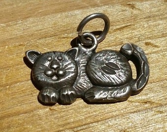 Vintage, 1960's Sterling Silver Cat Charm, Antique Kitty Cat Charm, Vintage Silver Kitty Charm, Silver Cat Charm, Vintage Silver, Cat Lover