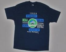 80s T Shirt 1989 Women's NCAA Tournament soft thin tee M/L trench navy blue college basketball Tennessee MD Auburn louisiana tech