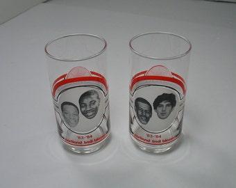 80s Portland Trailblazers Glasses Set 2 drink beverage NBA team Sunshine Pizza 83 84 blazers kitchenware Rare pdx OR sports man cave