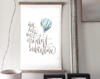 Greatest Adventure Canvas Wall Banner in BLUE