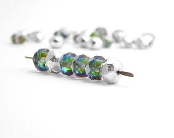 30 x 6x8mm Silver Rainbow Gemstone Donut Czech Glass Beads, Rondelle Beads, Rainbow Beads, Silver Faceted Beads GMD0179