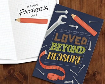 You're Loved beyond Measure     Workshop themed Printable Father's Day Card with Matching Envelope