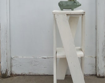Handcrafted Shabby White Plant Stand -  Side Table - Indoor - Outdoor Furniture