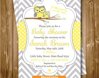 Owl Baby Shower Invitation, Owl Printable Party Invitation, Grey Yellow Chevron Polkadots Shower, Owl Baby Shower  Party Supplies