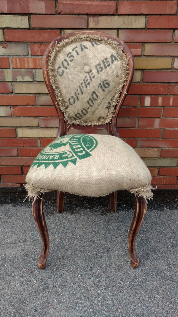 Accent Chair - Burlap - Coffee Bean Sack - Rustic Decor