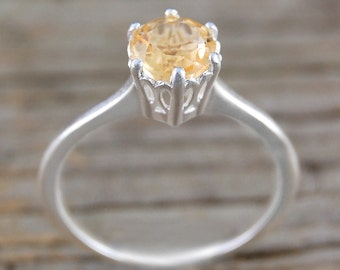 Silver Citrine Ring - Gemstone Ring - Engagement Ring - Yellow Ring - Silver Ring - November Birthstone Ring - Solitaire Ring - Simple Ring