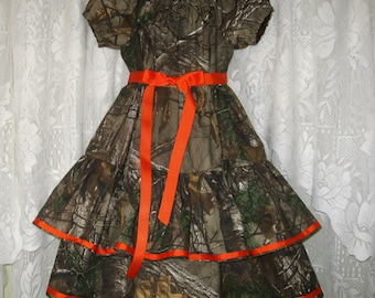 Girls Peasant Style Camo Wedding Dress. Peasant Style Camo dress. Camo Weddings or Everyday Wear.