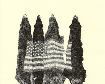 Bearskins with American Flag