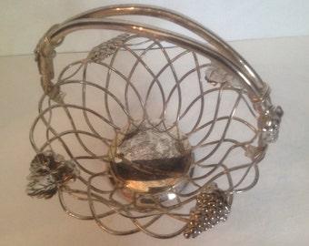 vintage silver tone patina woven metal basket grapes leaves handle Studio Silversmiths