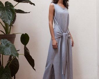30% off Light grey maxi dress summer,sleeveless maxi dress,maxi tank dress,side slit dress,t shirt dress,belted dress