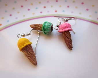 Polymer Clay Ice Cream Earrings, Ice Cream Jewellery, Ice Cream Jewellery, Dessert Jewellery, Clay Food, Summer Jewellery