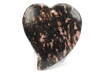 Pink Rhodonite Heart Pendant, Pink and Black Necklace Pendant G957