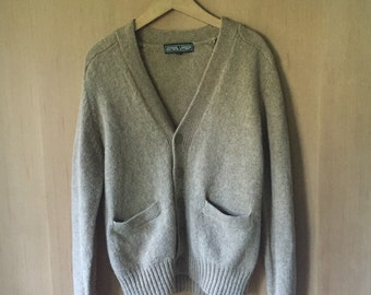 Tan Shetland Wool Cardigan Sweater, Ladies S M L