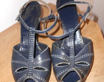 Vintage 1940's Blue Shoes - Peep Toe Ankle Strap - Penney's