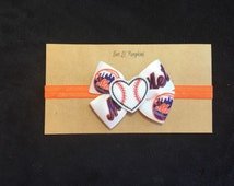 New York Mets Inspired Baby Headband, Mets Bow Headband, New York Mets Baby Gift, Mets Baseball Feltie Headband