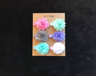 Mini Shabby Flower Hair Clips, Petite Shabby Flower Hair Clips, Baby Girl Flower Hair Clips, Toddler Hair Clips, Toddler Flower Clips