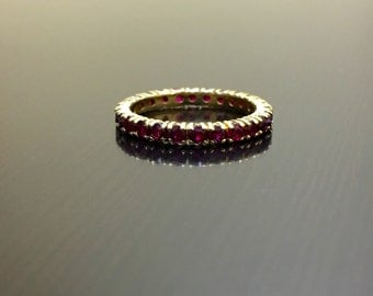 14K Yellow Gold Eternity Ruby Engagement Band - Art Deco 14K Gold Ruby Wedding Band - 14K Gold Ruby Eternity Band - Gold Art Deco Ruby Band