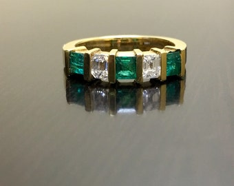 18K Yellow Gold Art Deco Emerald Cut Diamond Emerald Engagement Band - Art Deco 18K Gold Emerald Diamond Wedding Band - 18K Emerald Band
