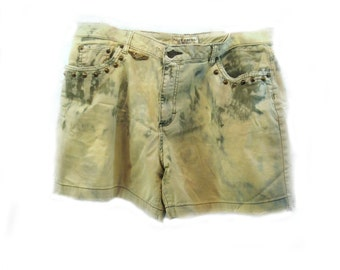grunge shorts, bleached shorts, ombre shorts, distressed shorts,  size 16,  # 22