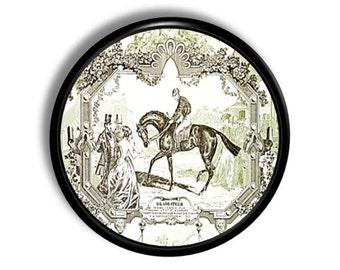 Vintage Inspired Antiqued Equestrian Toile Drawer Pull - Horse and Rider, Victorian, Black - Dresser, Knob, Cabinet Door - 315D31