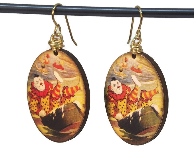 Wooden Clown Dangle Drop Earrings Nickle Free Natural Brass Ear Wires Red, Yellow, Black