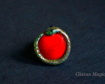 Ouroboros glass interchangeable ring top, cabochon, ring topper, lampwork, murano glass, serpent, snake ring, glass snake, red, green