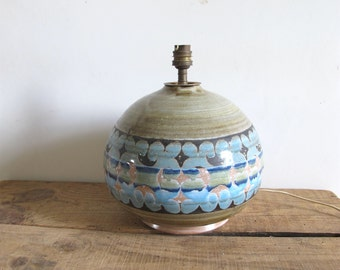 Vintage French Mid century studio Glaze pottery signed Table lamp / Vallauris