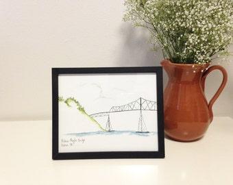 Art Print // Astoria-Megler Bridge // Limited Edition Watercolor // Astoria Oregon // Bridge