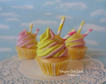 Fake Cupcake Pink Lemonade Swirl
