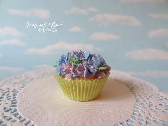 Fake Cupcake Handmade Spring Garden Theme Shabby Chic Cottage Victorian Violet Blue Hydrangea Cupcake Mother's Day