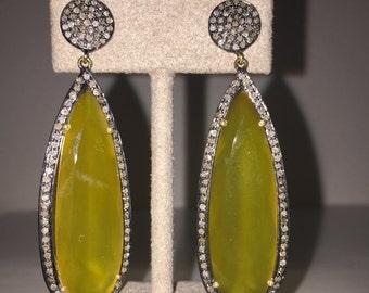 Yellow Serpentine Diamond Earring