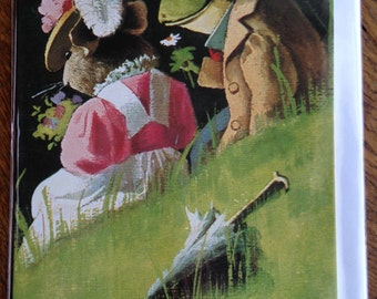 On The Riverbank Charming Vintage Greeting Card Repro of 2 Frogs on a Summer's Day