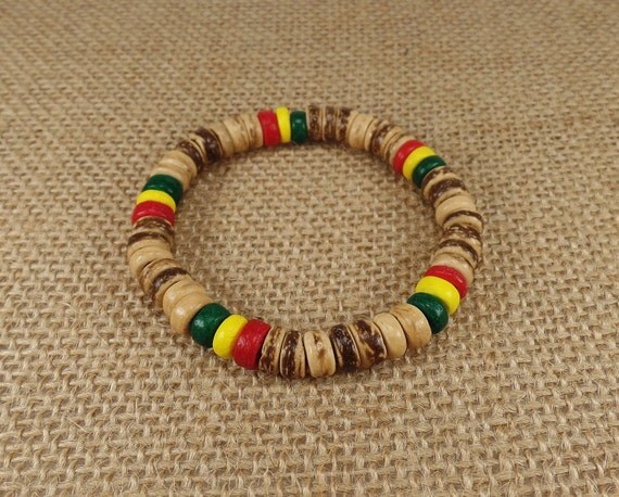 brown bracelet handmade rasta bracelet rasta wood bracelet
