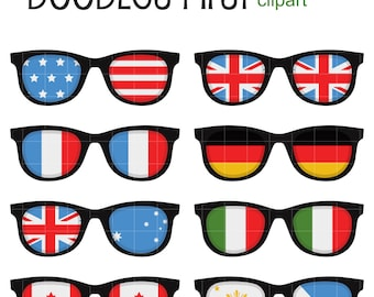 Flag Sunglasses Digital Clip Art for Scrapbooking Card Making Cupcake Toppers Paper Crafts