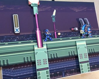 Mega Man X Diorama / Shadowbox (framed artwork) SNES