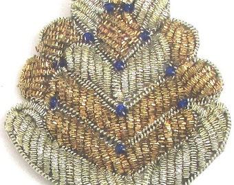 """Bullion Thread Appliqué with Beads  2.5"""" -0520-4292-1245"""