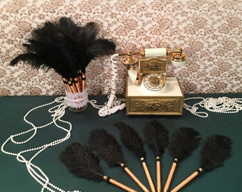 6 Black Feather Pens Great Gatsby Party Wedding Favors Bridal Shower Favors Bachelorette Party Favors Great Gatsby Wedding Party Decorations